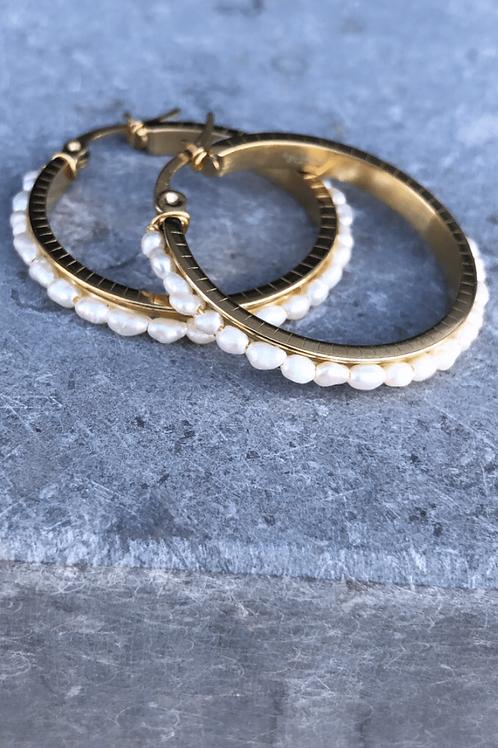 Oorbellen White pearl