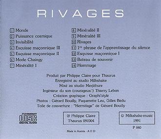 Verso du CD Rivages de Philippe Claire