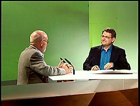 Philippe Claire avec André Brack sur le pateau de l'émissio H2o sur Orléans TV