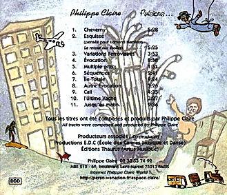 Verso du CD Pulsions de Philippe Claire