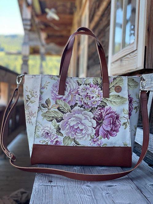 BellaSusi Shopper mit Lederträger Leinen Rosa Blume