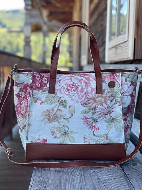 BellaSusi Shopper mit Lederträger Leinen Rote Blume