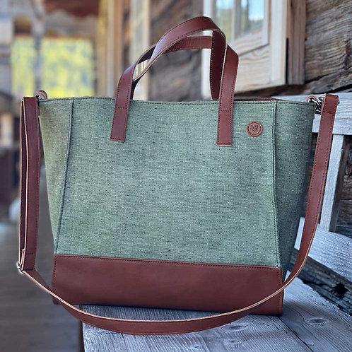 BellaSusi Shopper mit Lederträger Leinen Grün