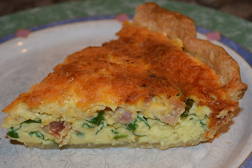 """9"""" Spinach Bacon and Cheddar Quiche"""