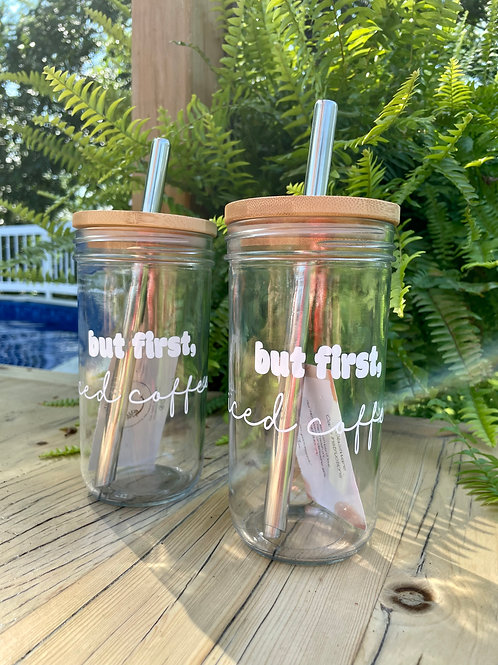 """""""but first, iced coffee"""" tumbler"""