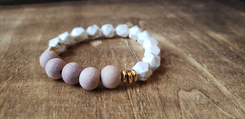 Faceted White Turquoise & Rosewood
