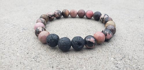 Pink and Black Gemstone Bracelet