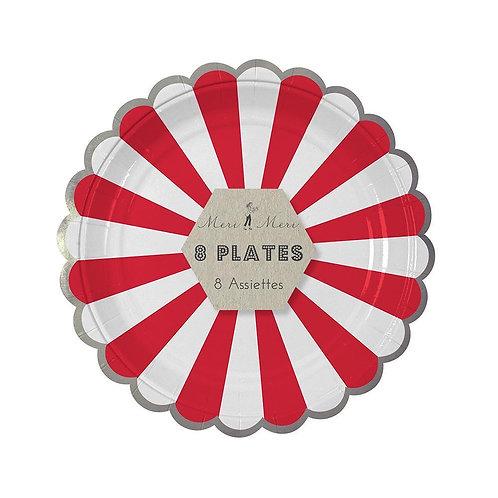 Red Fan Stripe Plates (small)