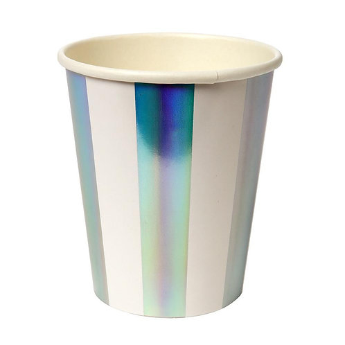 Holographic Silver Stripe Cups