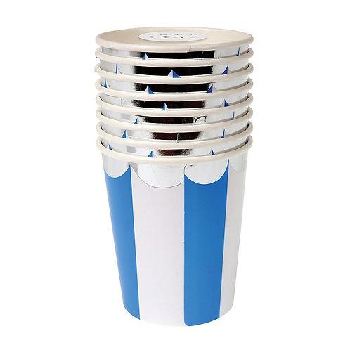 Blue Fan Striped Cups