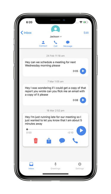 Screenshot of the conversation screen on vxt voicemail assistant app