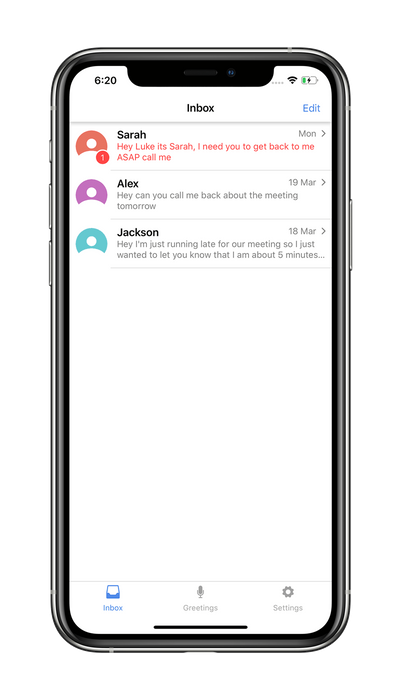 screenshot of the inbox screen on the vxt voicemail assistant app.png