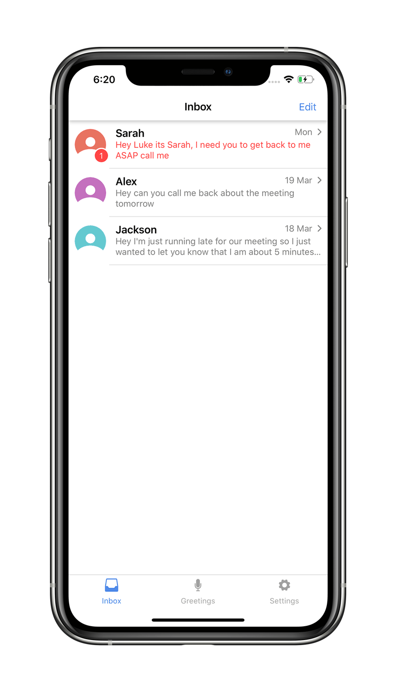 screenshot of inbox screen on vxt visual voicemail assistant app