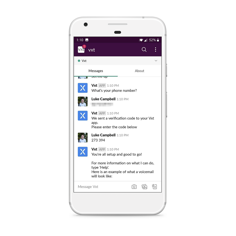 screenshot of slack when integration with vxt app is enabled