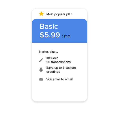 basic subscription plan of vxt voicemail assistant app - our most popular plan