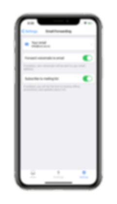 screenshot of the email forwarding screen on the vxt voicemail assistant app.png