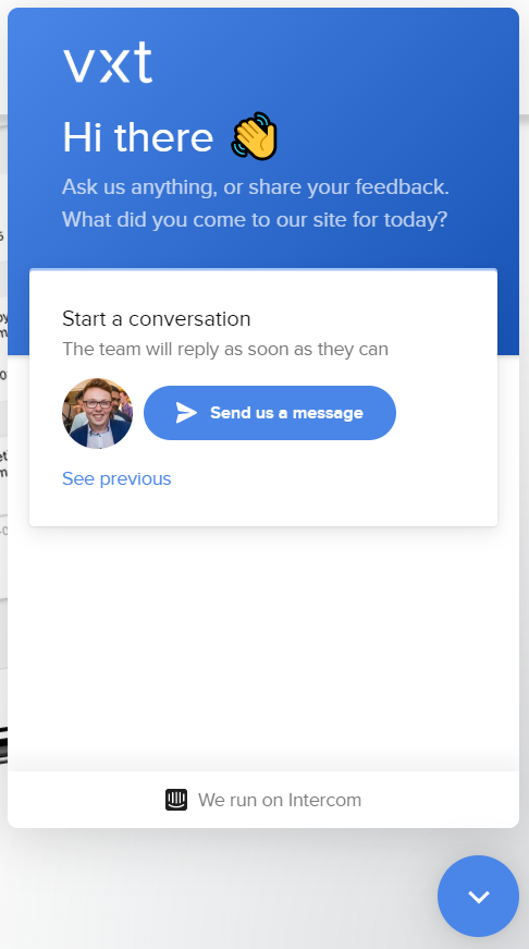 screenshot of chatbot on vxt voicemail assistant app website