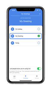 screenshot of my greetings screen on vxt voicemail assistant app