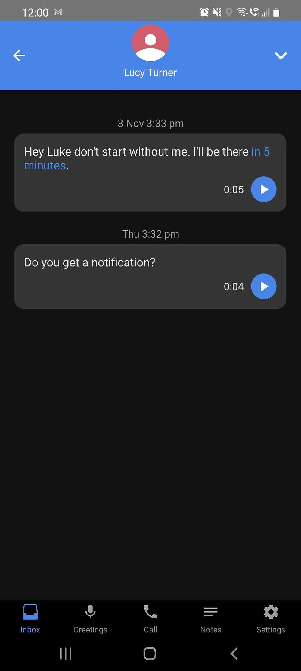 A screenshot of the Vxt mobile app demonstrating visual voicemail