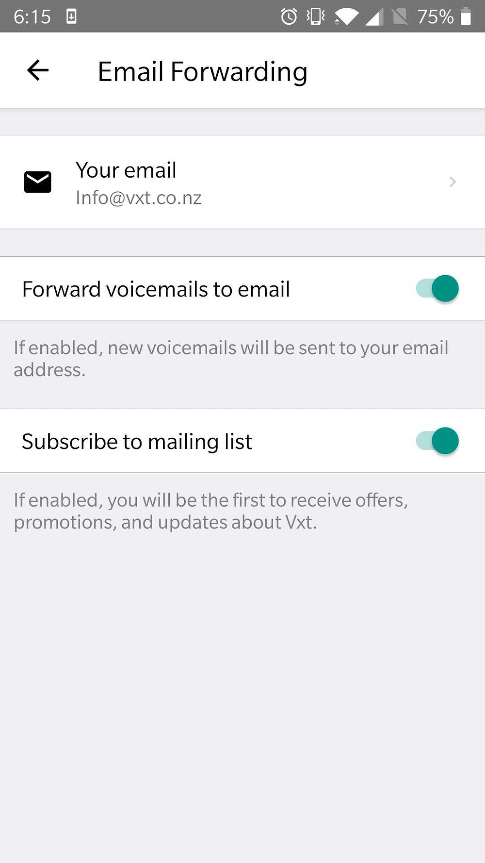Email forwarding screen inside of the Vxt app