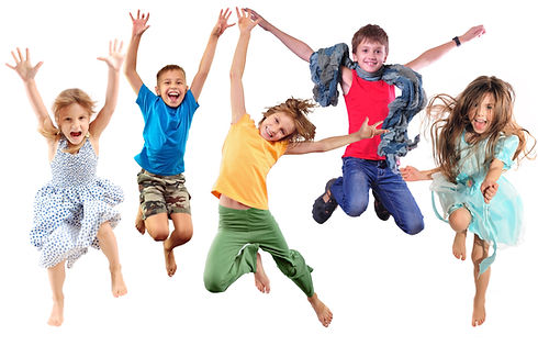 group of barefeet children shouting scre