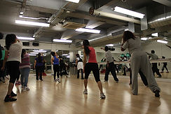 Fun fitness dance class at gym