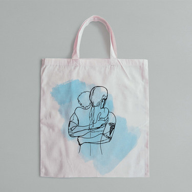 Borsa in tela con illustrazione personalizzata - lines of you