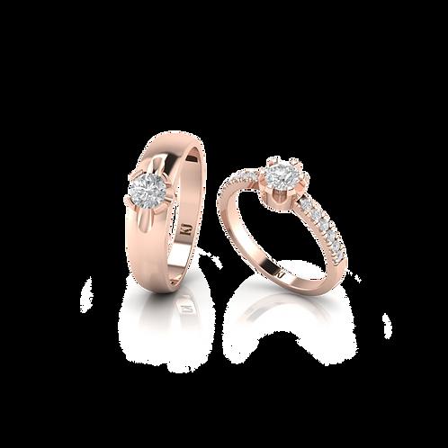 Nhẫn cưới vàng hồng đính đá lãng mạn KJW0272