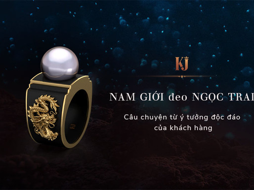 Thiết kế nhẫn nam -kết hợp giữa Ngọc Trai và San hô đen- từ ý tưởng của khách hàng
