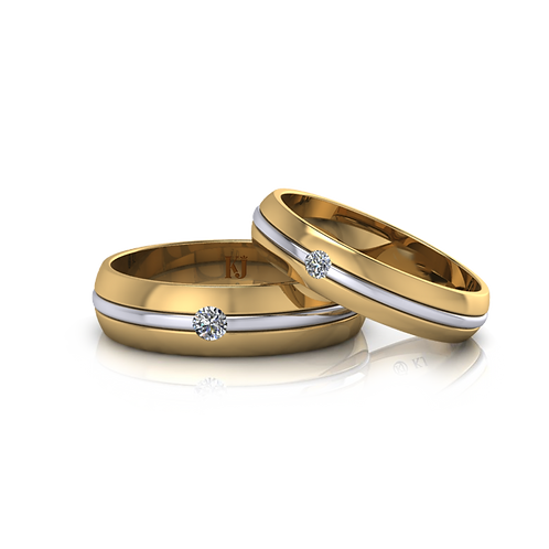 Nhẫn cưới 2 màu KJW0156