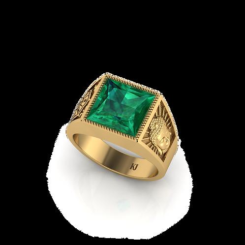 Nhẫn nam mặt Phật đá xanh KJM0800
