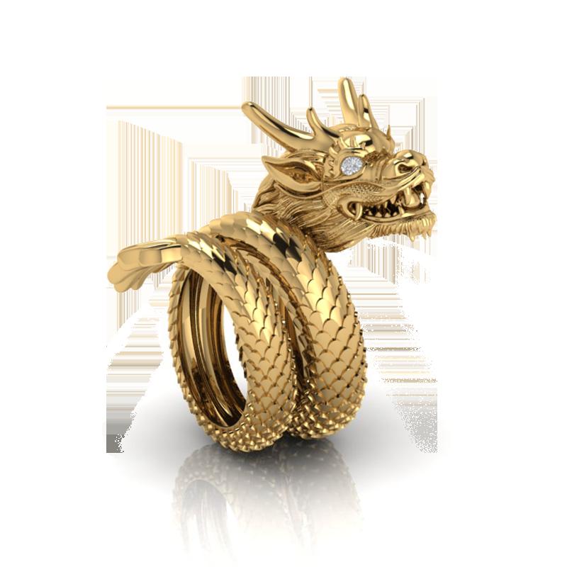 Nhẫn rồng cuộn 2 vòng đeo ngón cái