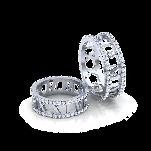 Nhẫn cưới thiết kế số La Mã theo ngày cưới KJW0154