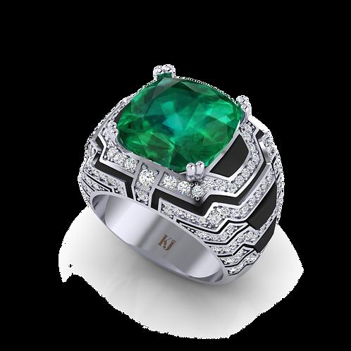 Nhẫn nam thiết kế đính đá Emerald KJM0809