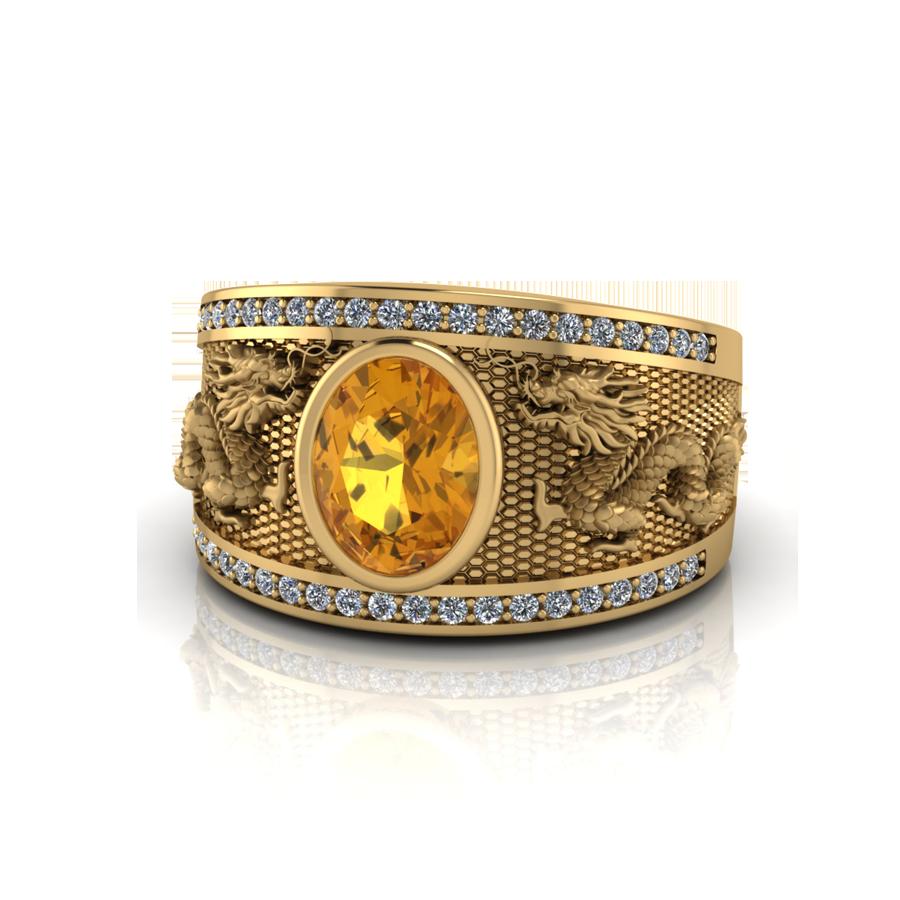Nhẫn Song Long chầu ngọc phong cách cổ điển, hoàng gia