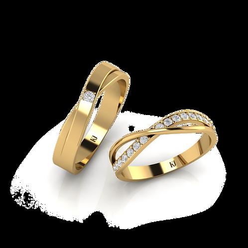 Nhẫn cưới vàng đính đá KJW0110