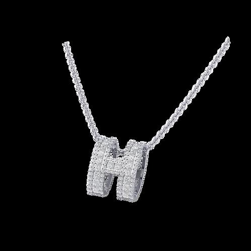 Mặt dây chữ H gắn full đá  KJP0373