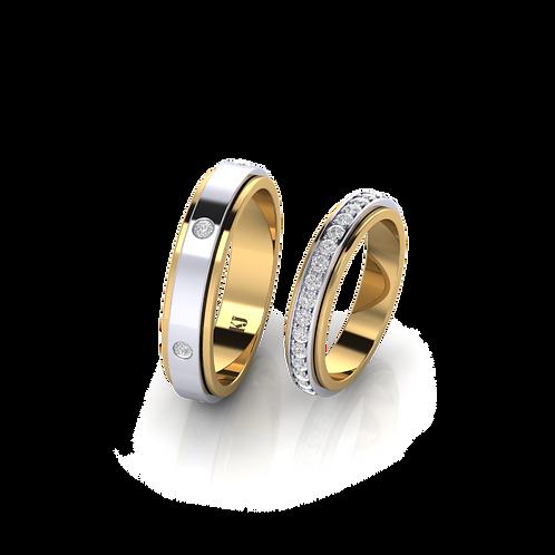 Nhẫn cưới xoay 2 màu KJW0302