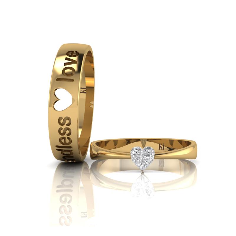 Nhẫn cưới trái tim lồng đính đá độc đáo