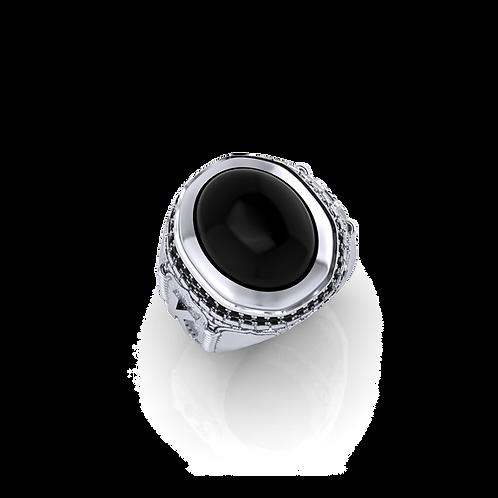 Nhẫn nam đá đen kích thước lớn KJM0739