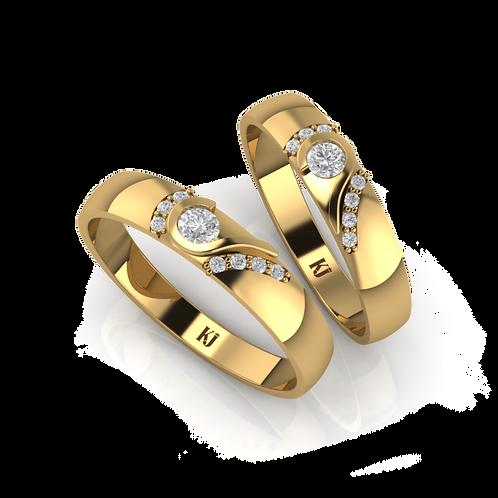 Nhẫn cưới thiết kế hai nửa trái tim KJW0027