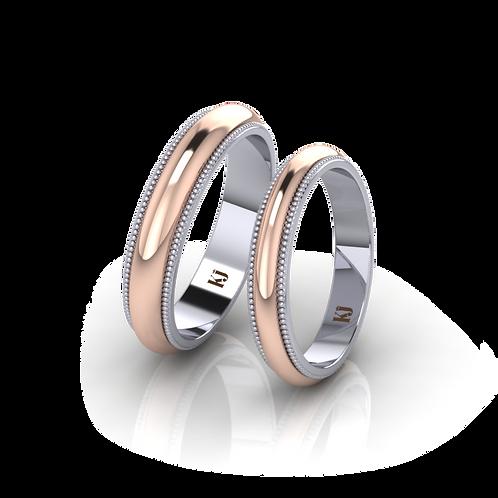 Nhẫn cưới xoay 2 màu KJW0176