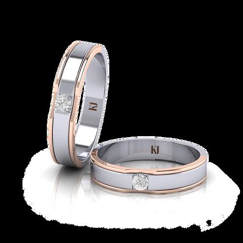Nhẫn cưới thiết kế 2 màu KJW0169