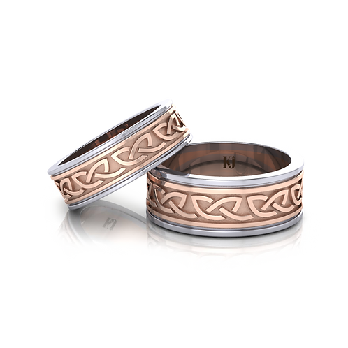 Nhẫn cưới thiết kế celtic 2 màu KJW0242