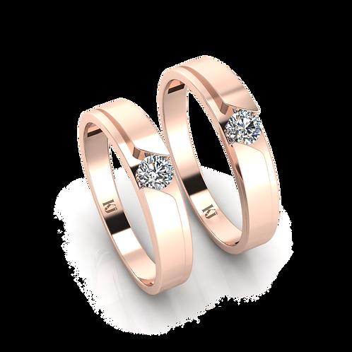 Nhẫn cưới vàng hồng thiết kế KJW0025