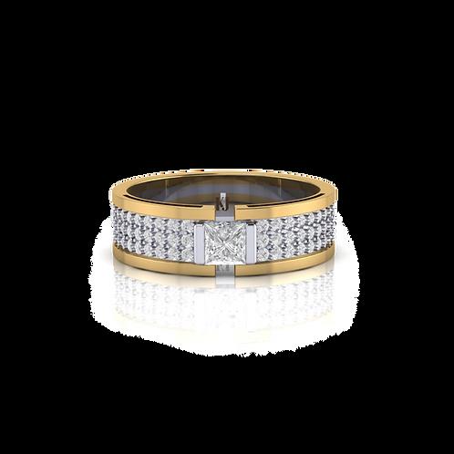 Nhẫn nam đúc 2 màu gắn đá KJM0700