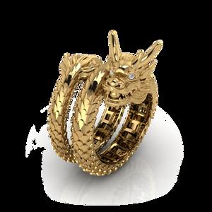 Nhẫn nam Rồng cuộn hai vòng thiết kế cho khách đeo ngón cái hoặc ngón trỏ