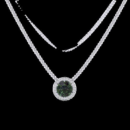 Mặt dây đá xanh Moissanite KJP0377