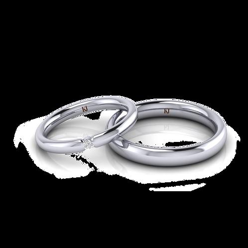 Nhẫn cưới vàng trắng tròn trơn KJW0136 M2