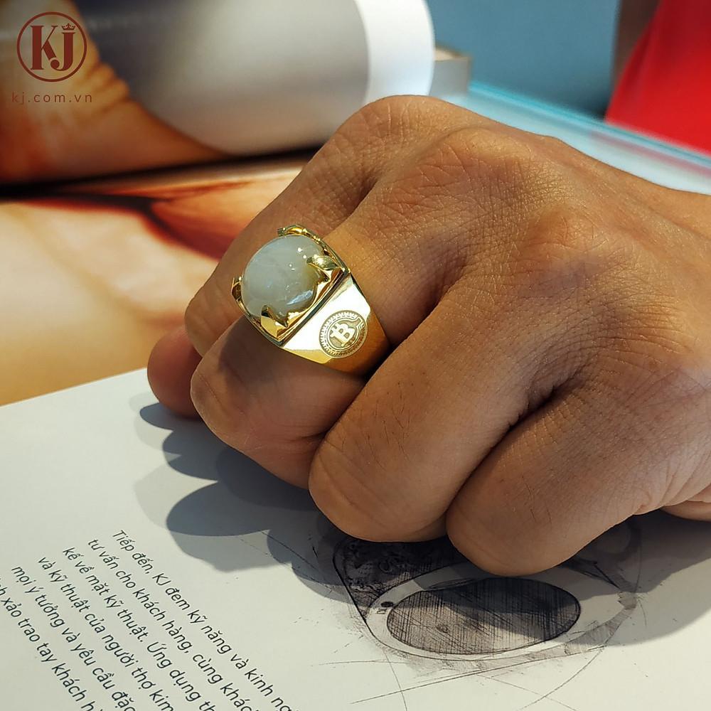 Nhẫn nam đính đá phong thủy bản to cho ngón giữa